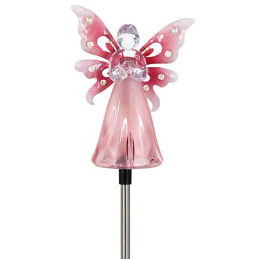Solar Pink Angel w/LED Wings - Click to enlarge