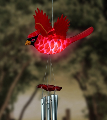 Solar Powered Cardinal Wind Chime - Click to enlarge