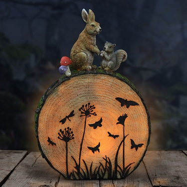 Solar Rabbit & Squirrel Statue - Click to enlarge
