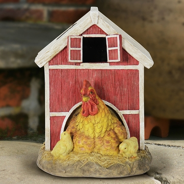 Solar Red Barn w/Rooster & Chicks - Click to enlarge