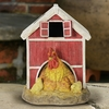 Solar Red Barn w/Rooster & Chicks
