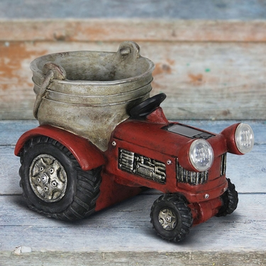 Solar Red Tractor Planter - Click to enlarge