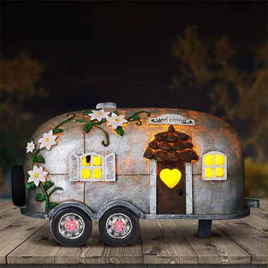 Solar Retro Camping Trailer Statue - Click to enlarge