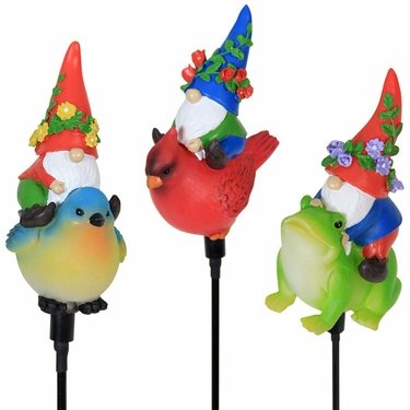 Solar Riding Gnome Stakes (Set of 3) - Click to enlarge