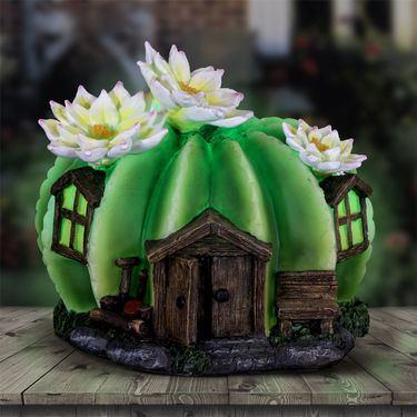 Solar Round Cactus Fairy House - Click to enlarge