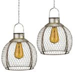 Solar Round Edison Lanterns (Set of 2)