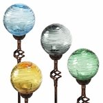 Solar Glass Orb Finial Stakes (Set of 4)