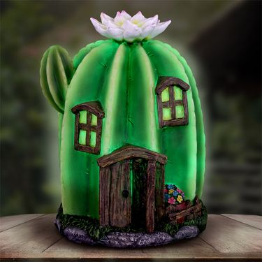 Solar Tall Cactus Fairy House - Click to enlarge