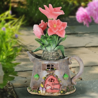 Solar Tea Kettle - Peach Flowers - Click to enlarge