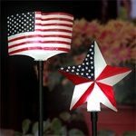 Solar USA Star & Flag Garden Stakes (Set of 2)