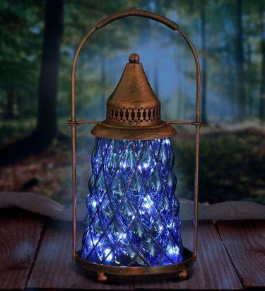 Solar Vintage Lantern w/12 Firefly LEDs - Sea Blue - Click to enlarge