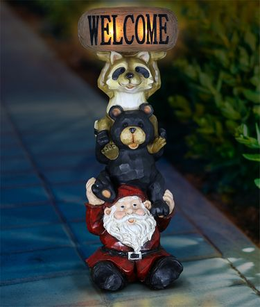 Solar Welcome Sign - Gnome, Bear & Raccoon - Click to enlarge
