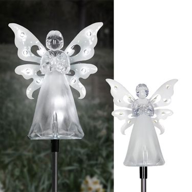 Solar White Angel w/LED Wings (Set of 2) - Click to enlarge