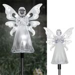 Solar White Angel w/LED Wings (Set of 2)
