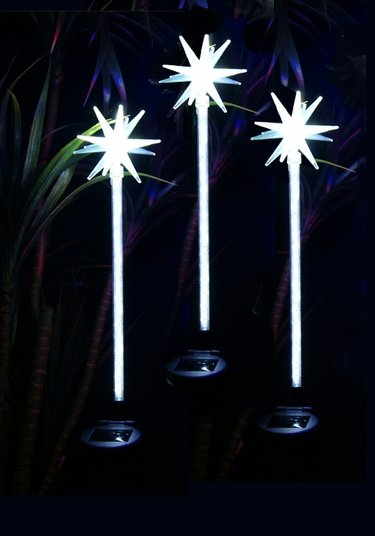 Solar White Motion LED Stakes (Set of 3) - Click to enlarge