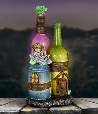 Solar Wine Bottle Fairy House - Click to enlarge