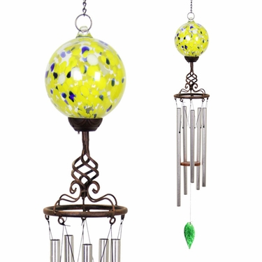 Solar Yellow Glass Ball Finial Wind Chime - Click to enlarge