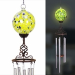 Solar Yellow Glass Ball Finial Wind Chime