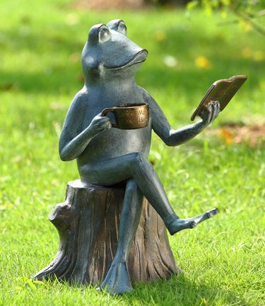 Sophisticated Frog Reading Statue - Click to enlarge