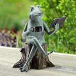 Sophisticated Frog Reading Statue