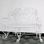 Stacey's Curved White Garden Bench