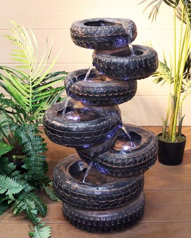 Stacked Tires Garden Fountain w/LED Lights - Click to enlarge