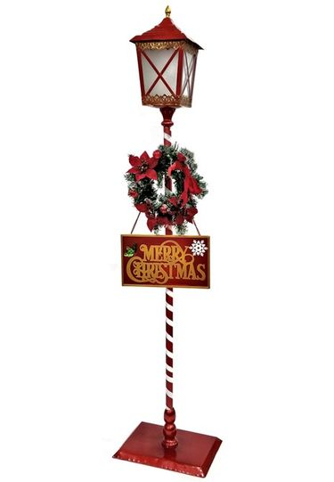 Standing Christmas Lantern w/Wreath & LED Light - Click to enlarge