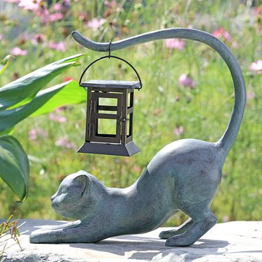Stretching Cat Solar LED Garden Lantern - Click to enlarge