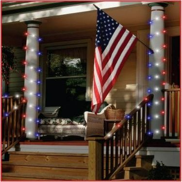 Solar String Lights - 50 LED Red White Blue - Click to enlarge