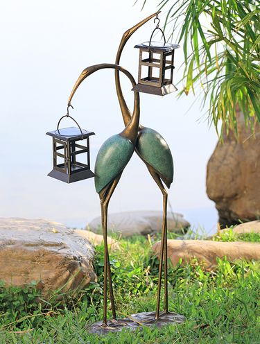 Stylized Cranes Solar LED Garden Lantern - Click to enlarge