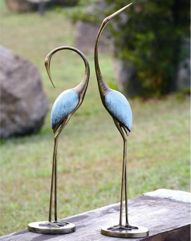 Stylized Upright Garden Cranes (Set of 2) - Click to enlarge