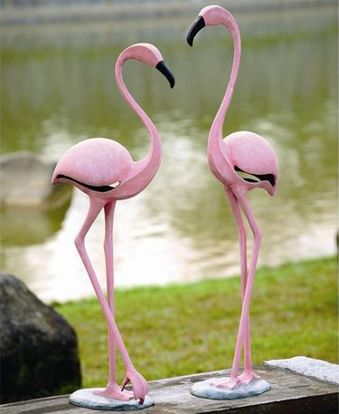 Stylized Pink Metal Flamingos (Set of 2) - Click to enlarge