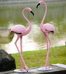 Stylized Pink Metal Flamingos (Set of 2)