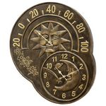 Sun and Moon Garden Clock & Thermometer