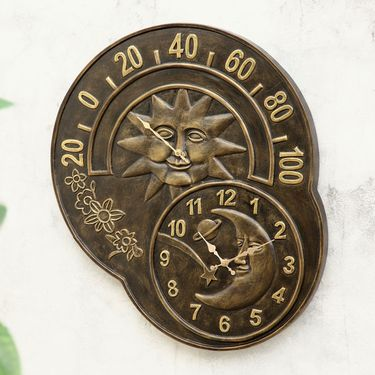 Sun and Moon Garden Clock & Thermometer - Click to enlarge