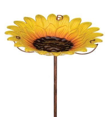 Glass Sunflower Bird Bath/Feeder Stake - Click to enlarge