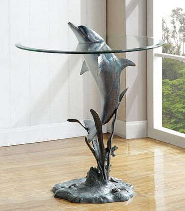 Surfacing Dolphin End Table - Click to enlarge