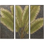Tall Green Leaves Wall Decor - 3 Piece Set