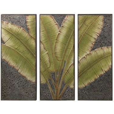 Tall Green Leaves Wall Decor - 3 Piece Set - Click to enlarge