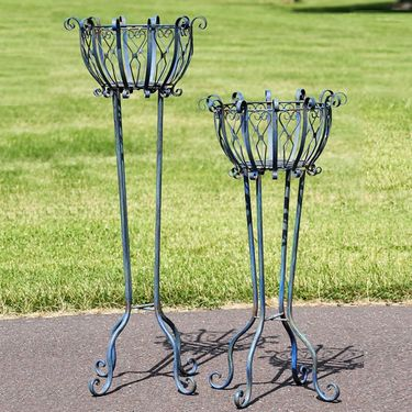Tall Iron Basket Plant Stands (Set of 2) - Antique Blue - Click to enlarge