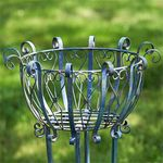 Tall Iron Basket Plant Stands (Set of 2) - Antique Blue