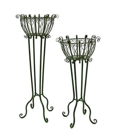 Tall Iron Basket Plant Stands (Set of 2) - Antique Green - Click to enlarge
