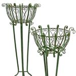 Tall Iron Basket Plant Stands (Set of 2) - Antique Green