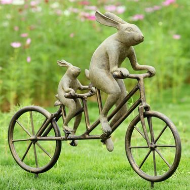 Tandem Bicycle Bunnies Garden - Click to enlarge