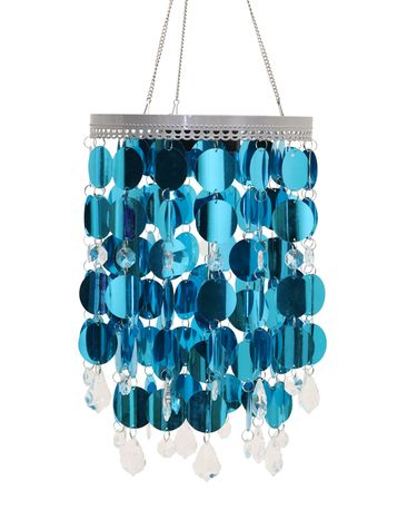 Teal LED Shimmering Chandelier w/Battery Powered Timer - Click to enlarge