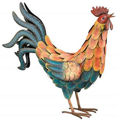 Teal Metal Rooster - Click to enlarge