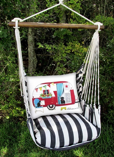 True Black Retro Camper Hammock Chair Swing Set - Click to enlarge