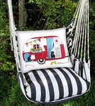 True Black Retro Camper Hammock Chair Swing Set