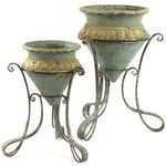 Turquoise & Gold Planters w/Iron Stands (Set of 2)