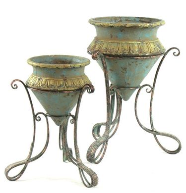 Turquoise & Gold Planters w/Iron Stands (Set of 2) - Click to enlarge